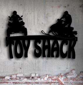 4 wheeler snowmobile toy shack metal up north sign