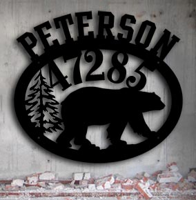 black bear personalized metal address sign