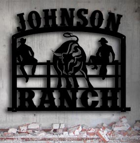 ranch personalized bull custom metal up north sign