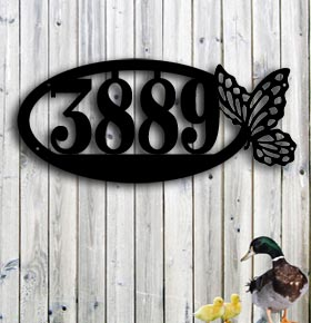 butterfly custom metal address up north sign