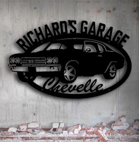 personalized chevelle muscle car garage up north signs