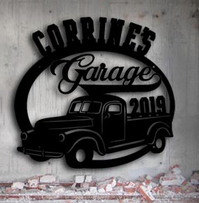 classic antique truck personalized metal garage sign