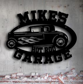 personalized hot rod garage metal up north sign