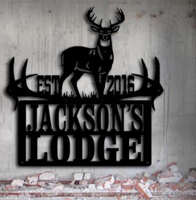 hunting lodge camp personalized metal up north sign
