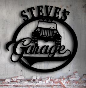 personalized jeep metal garage up north sign