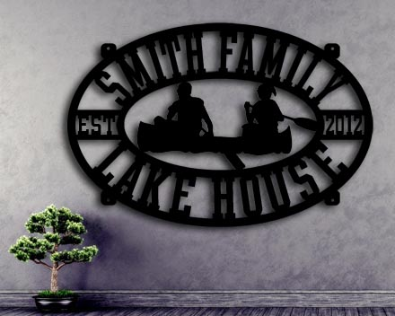 canoe custom metal sign lake house up north sign