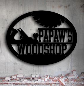 personalized metal woodshop up north sign