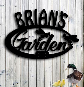 personalized metal garden sign with bees up north signs