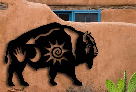 southwest native american custom metal sign buffalo bison outdoor metal art