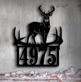 whitetail buck custom metal sign custom metal address up north sign