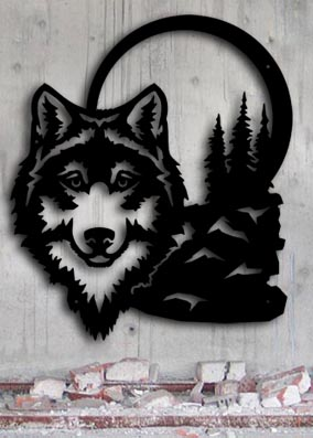 large metal wolf rustic metal wall art up north sign