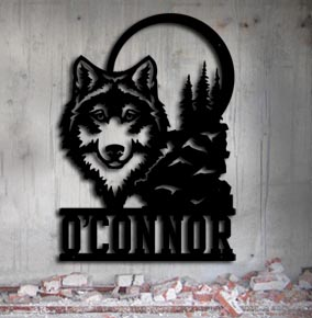 personalized wolf metal up north sign